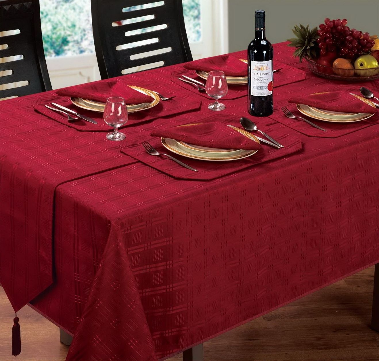Dining Room Table Linens: JACQUARD DINING TABLECLOTH ROUND OBLONG SQUARE BURGUNDY