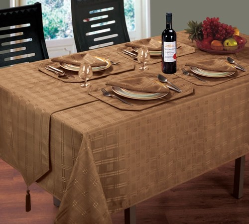 JACQUARD DINING TABLECLOTHS ROUND OBLONG SQUARE BEIGE COLOUR