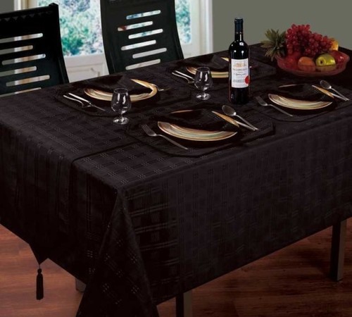 JACQUARD DINING TABLECLOTHS ROUND OBLONG SQUARE BLACK COLOUR
