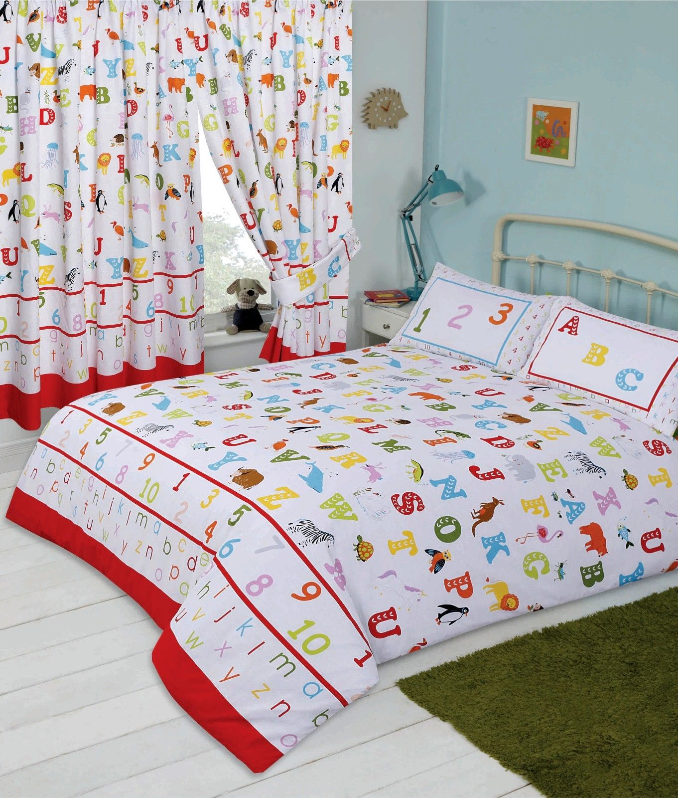 Kids Childrens Bedroom Alphabet Abc Letters Numbers Animals Design Bedding Or Curtains