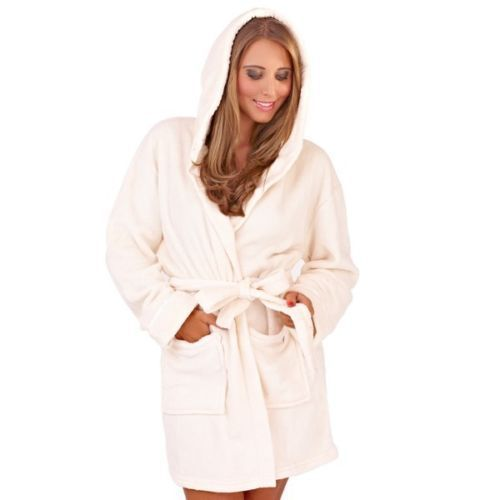 LADIES CREAM COLOUR LUXURY SOFT FLEECE MICROFIBRE HOODED BATHROBE DRESSING GOWN