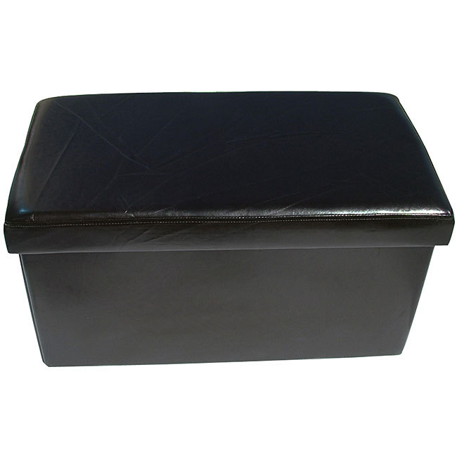 Marvelous Large Black Colour Leather Fold Flat Ottoman Storage Box Machost Co Dining Chair Design Ideas Machostcouk