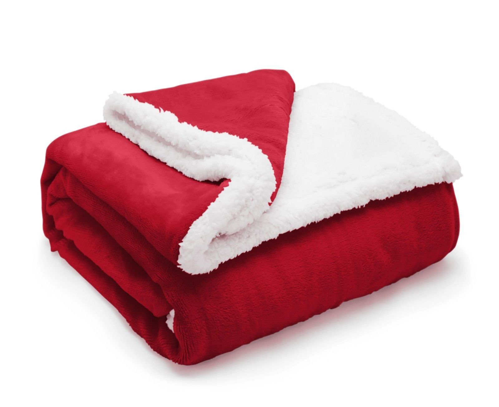 Luxury Sherpa Fleece Fur Super Soft Plush Warm Sofa Throw Blanket Plain Red  127cm x 152cm