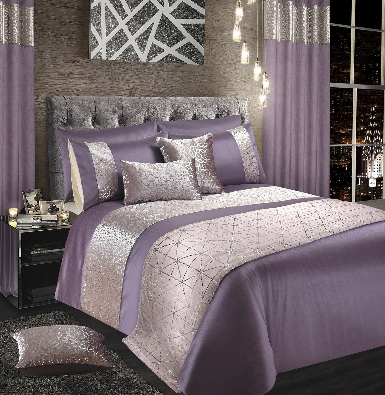 Mauve Silver Shimmer Stylish Glitzy Duvet Cover Luxury