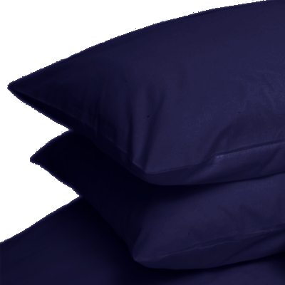 NAVY COLOUR PERCALE HOUSEWIFE PAIR OF PILLOWCASES