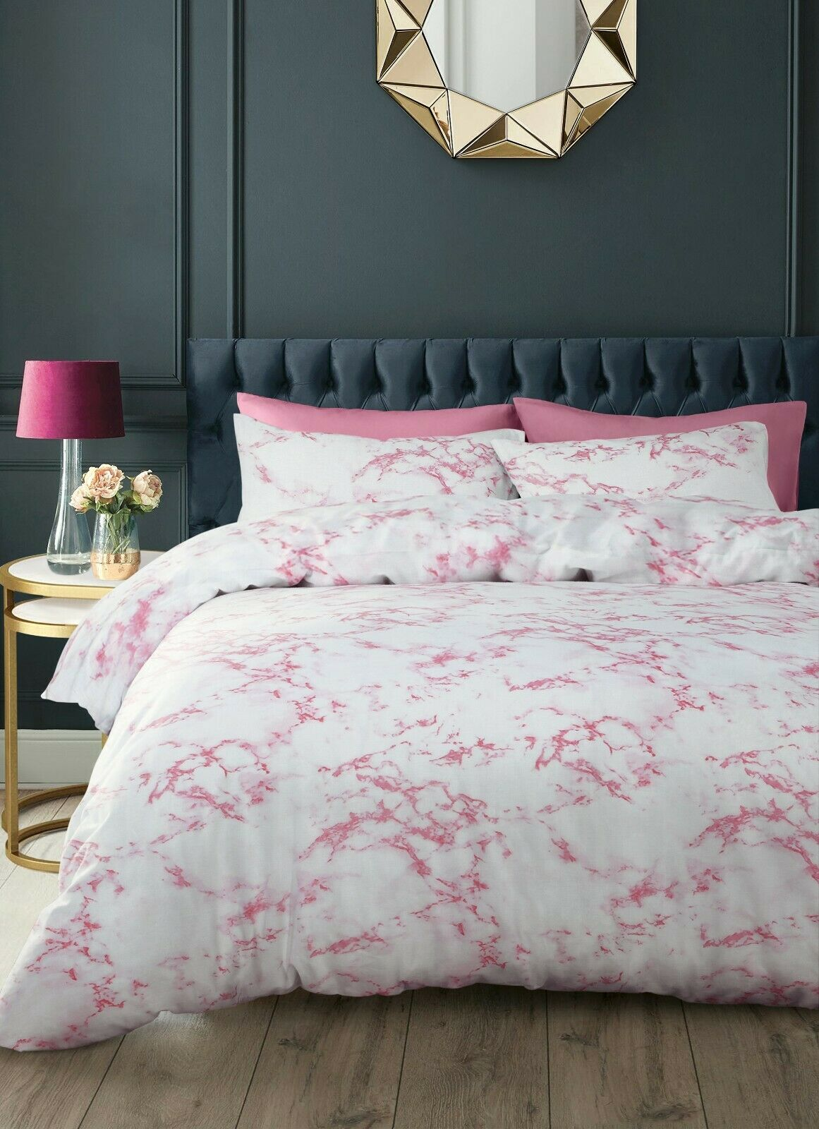 Pink White Marble Effect Stylish Printed Bedding Duvet Cover Pillowcase Set