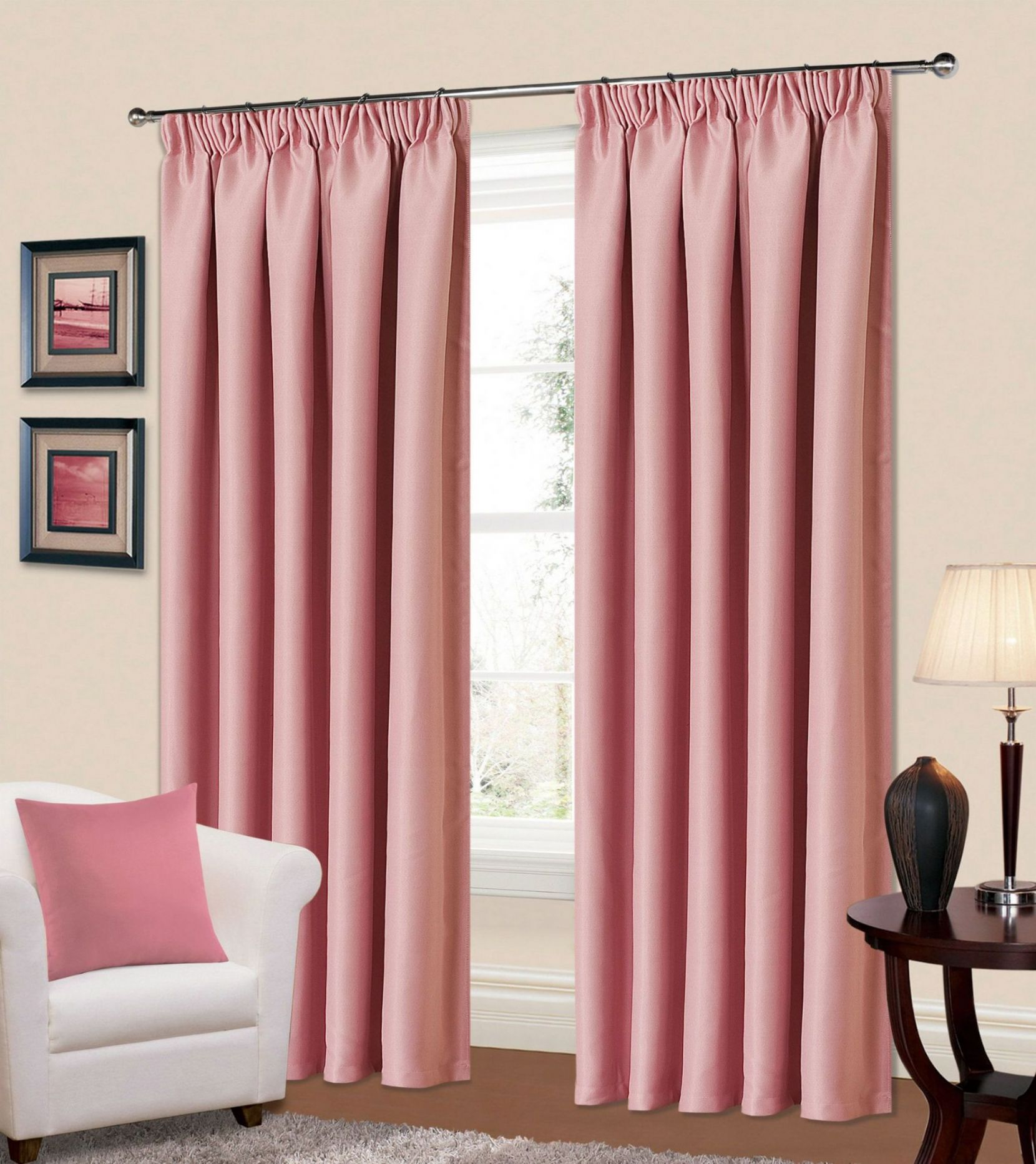 pink bedroom curtains plain baby pink colour thermal blackout bedroom livingroom 12834