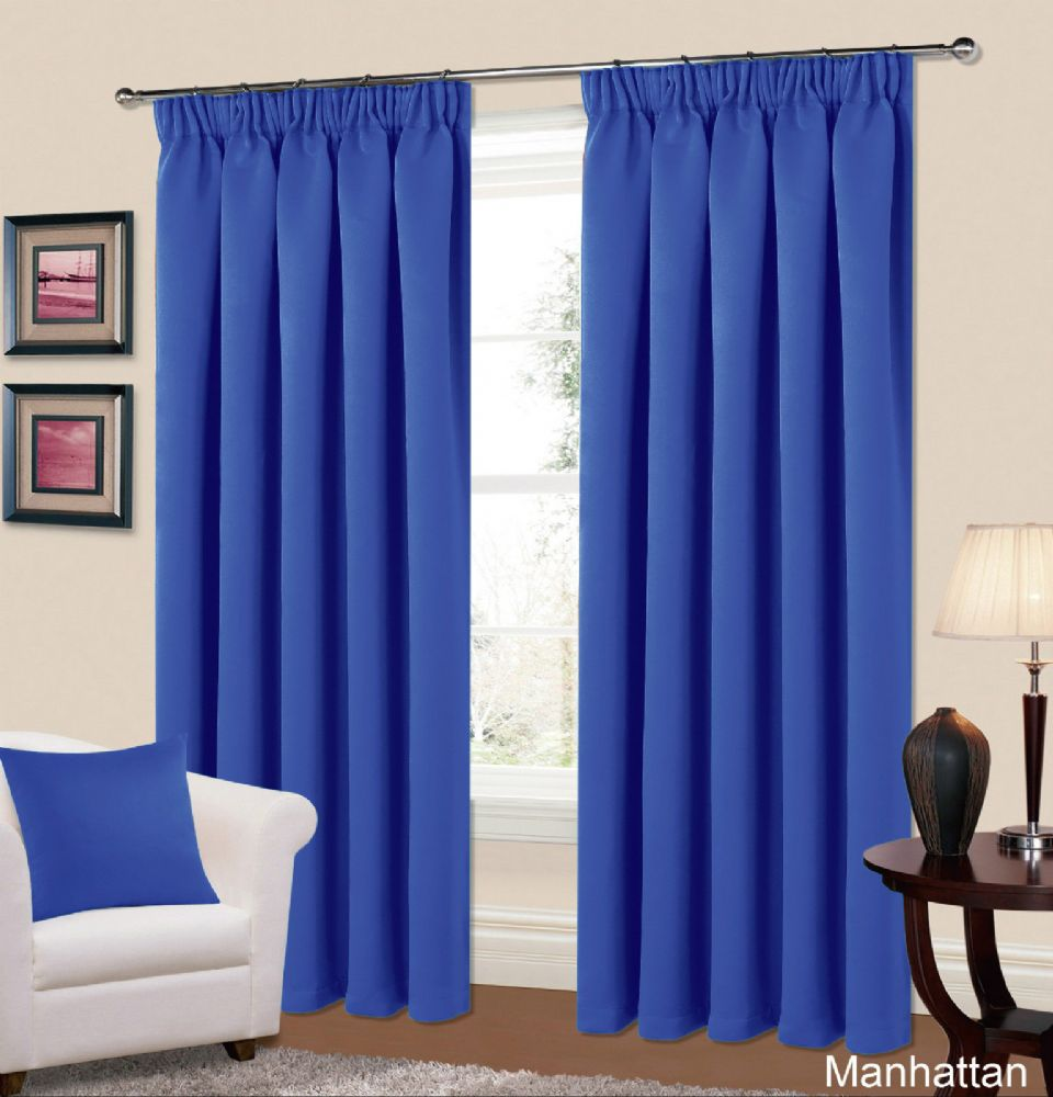 plain blue colour thermal blackout readymade bedroom livingroom curtains pencil pleat. Black Bedroom Furniture Sets. Home Design Ideas