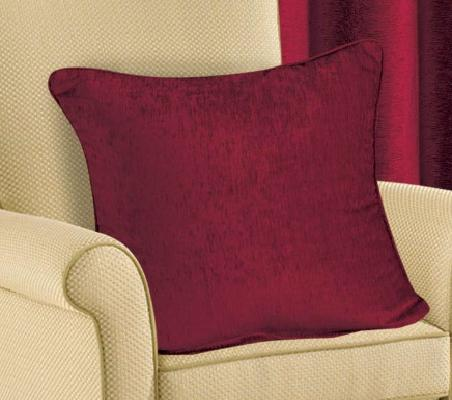 PLAIN CHENILLE FABRIC CUSHION BURGUNDY WINE COLOUR