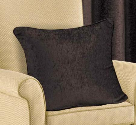 PLAIN CHENILLE FABRIC CUSHION CHOCOLATE BROWN COLOUR