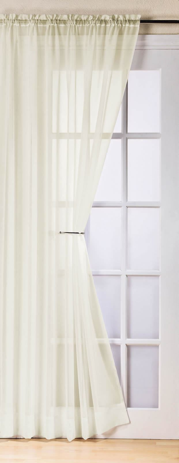 PLAIN CREAM COLOUR SLOT TOP READY MADE STYLISH LIGHT NET VOILE CURTAIN