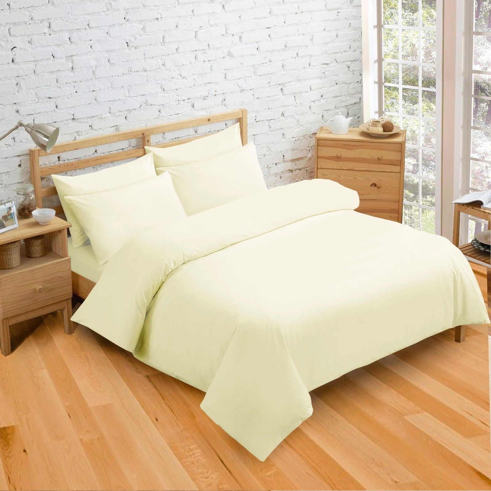 Plain Dyed Cream Colour Bedding Duvet Quilt Cover Set