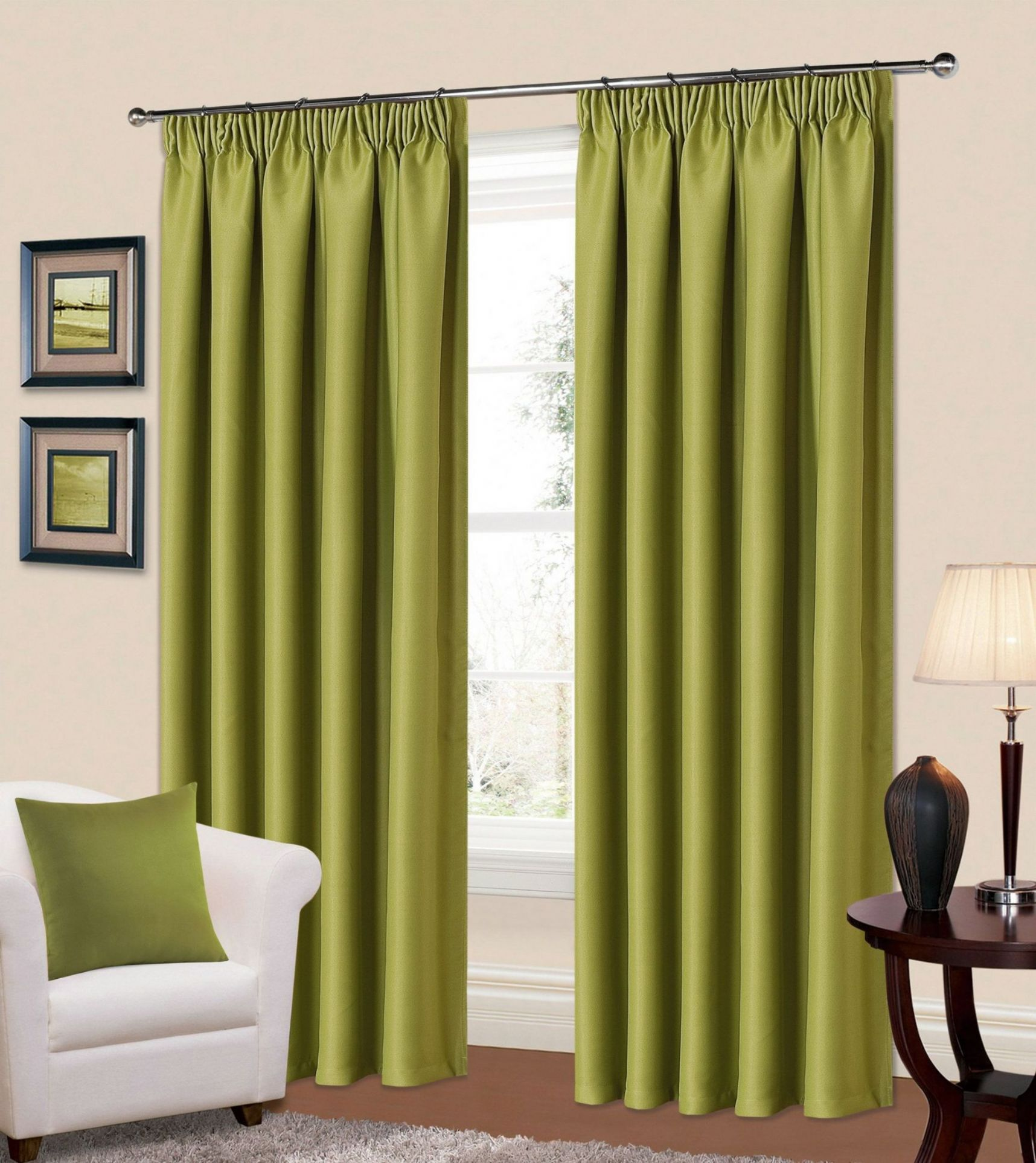 green living room curtains plain green colour thermal blackout readymade bedroom 14491