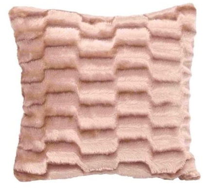 PLAIN NATURAL BEIGE COLOUR SOFT FAUX FUR PLUSH STYLISH DESIGNER CUSHION
