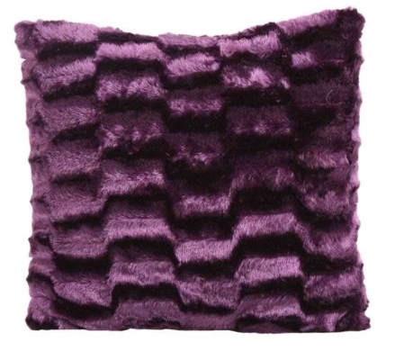 PLAIN PURPLE AUBERGINE COLOUR SOFT FAUX FUR PLUSH STYLISH DESIGNER CUSHION