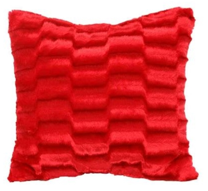 PLAIN RED COLOUR SOFT FAUX FUR PLUSH STYLISH DESIGNER CUSHION