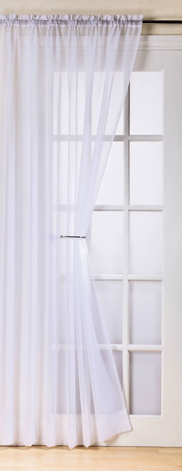 PLAIN WHITE COLOUR SLOT TOP READY MADE STYLISH LIGHT NET VOILE CURTAIN