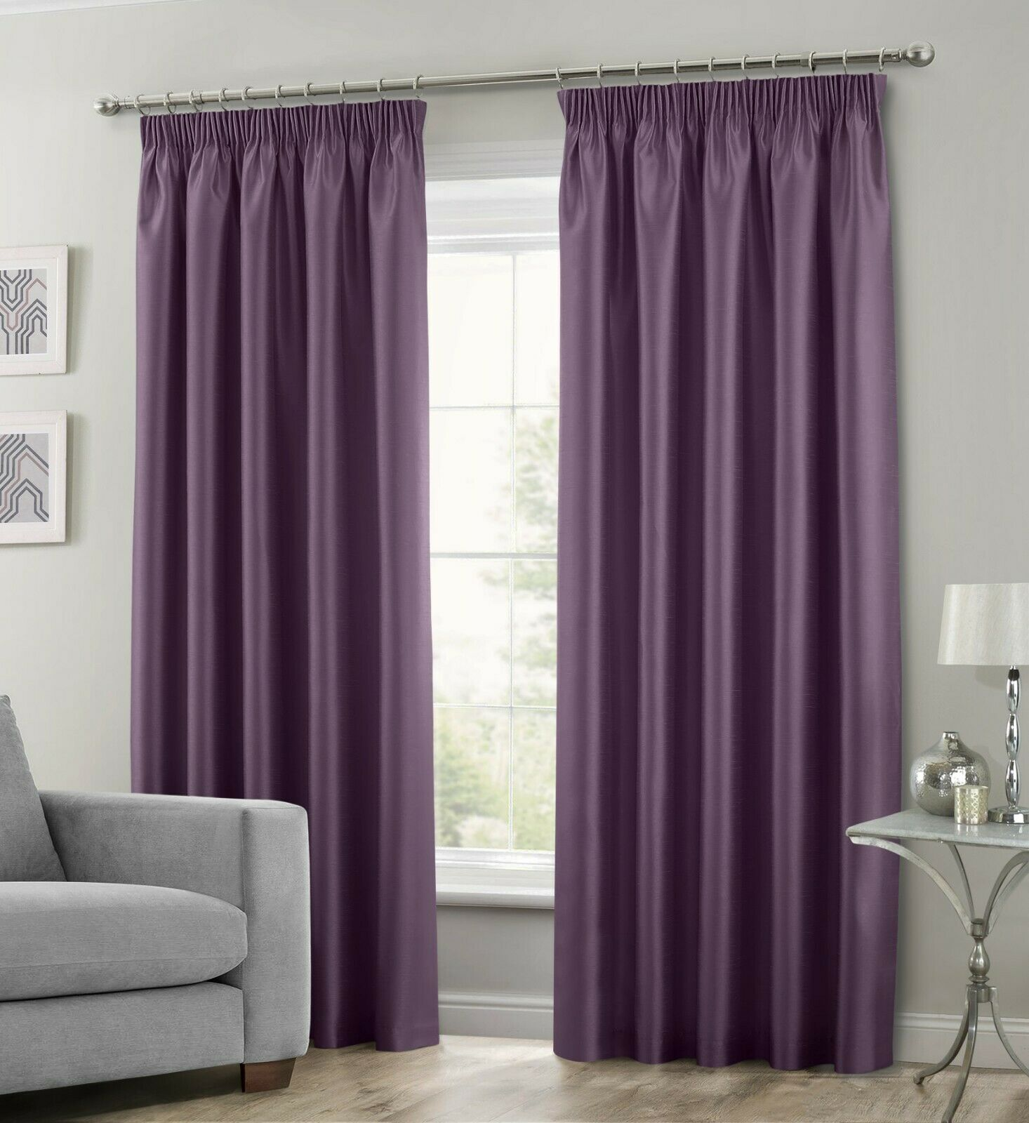 Purple Colour Stylish Faux Silk Fully Lined Pair Of Curtains