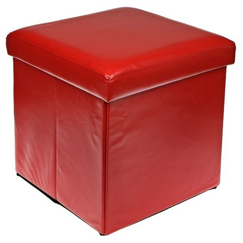 RED COLOUR LEATHER FOLD FLAT OTTOMAN STORAGE BOX