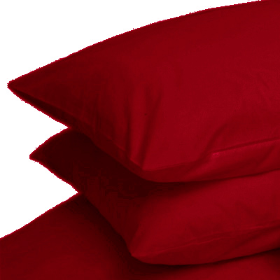 RED COLOUR PERCALE HOUSEWIFE PAIR OF PILLOWCASES