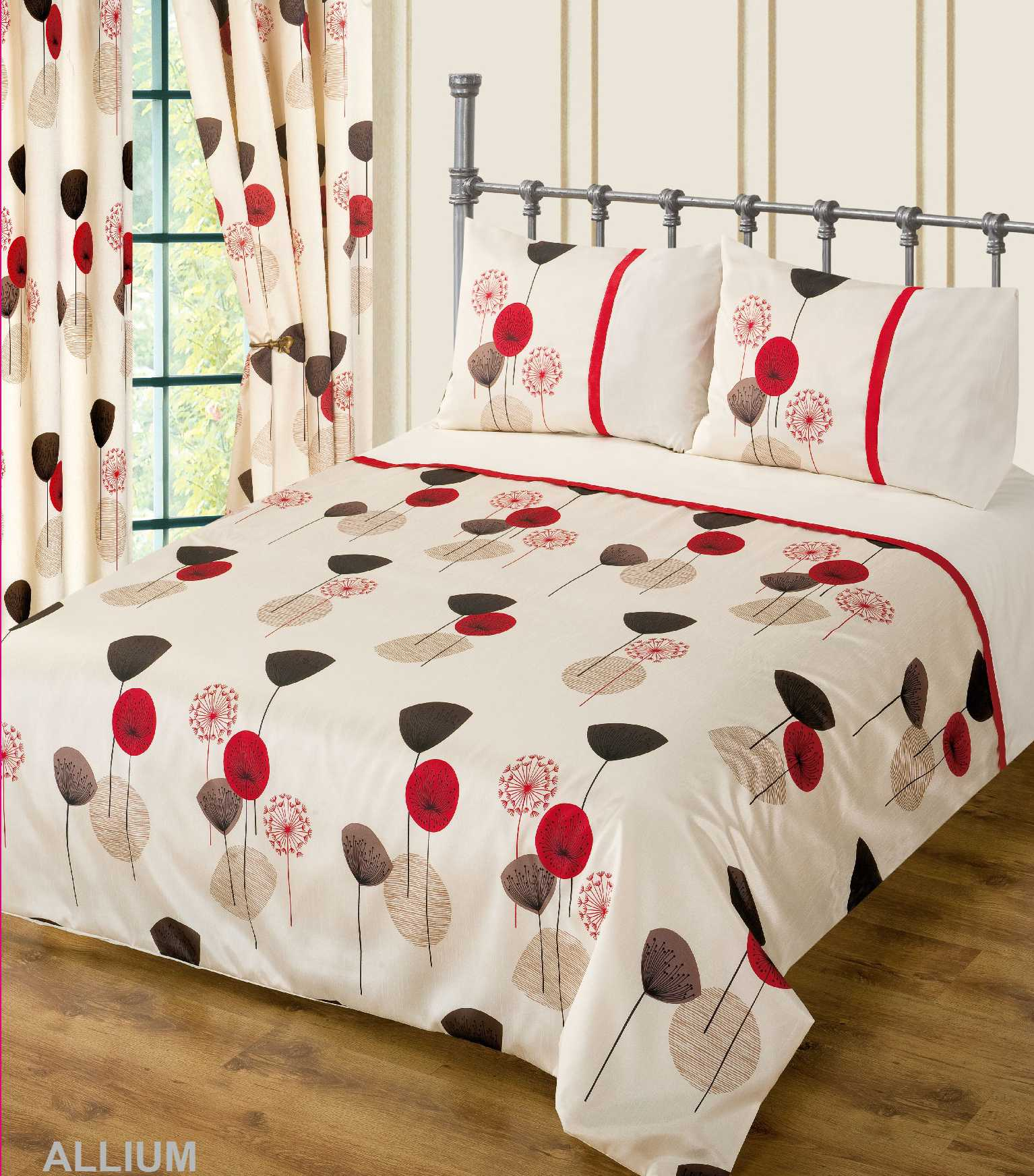 Red Wine Cream Colour Bedding Duvet Cover Set Stylish