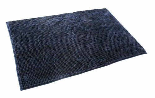 SHAGGY PILE LUXURY BATHMAT NON-SLIP PLAIN BLACK COLOUR