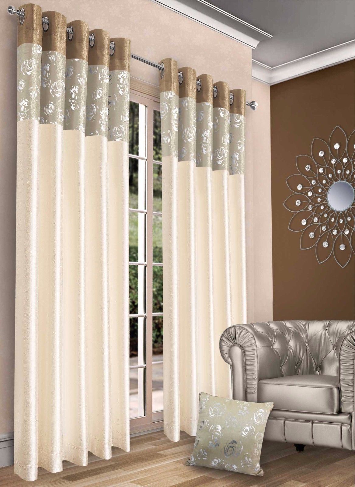 STYLISH CONTEMPORARY FAUX SILK RINGTOP EYELET LINED METALLIC FLORAL CURTAINS NATURAL LATTE COLOUR