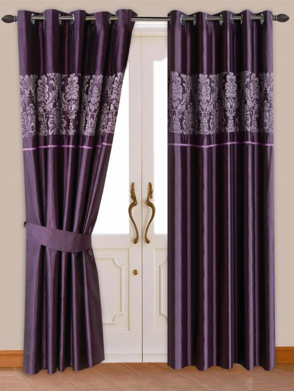 STYLISH DAMASK PATTERN RINGTOP EYELET LINED CURTAINS FAUX SILK PURPLE COLOUR