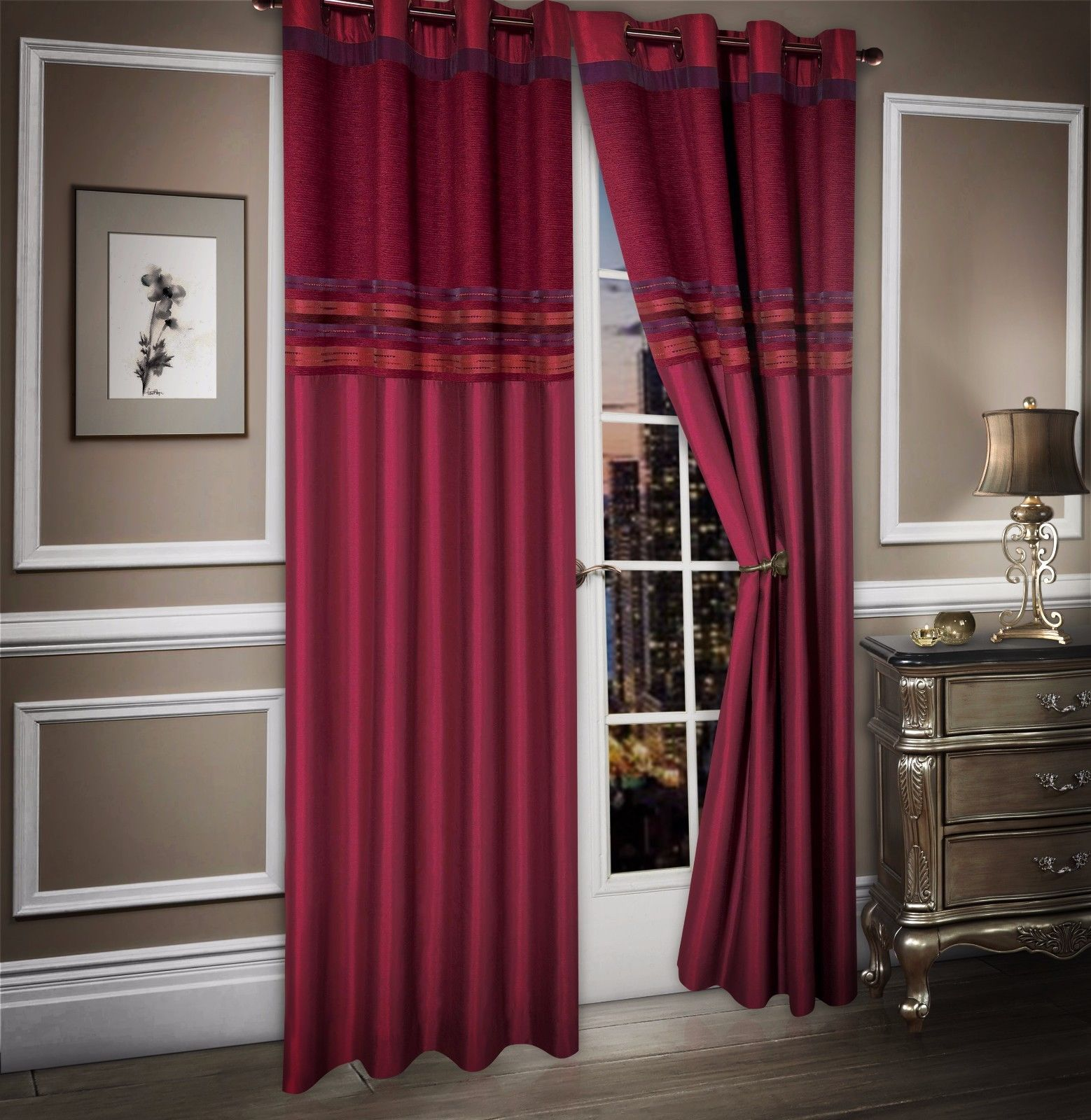 STYLISH MODERN 2 TONE CHENILLE FAUX SILK RINGTOP EYELETS LINED CURTAINS BURGUNDY COLOUR