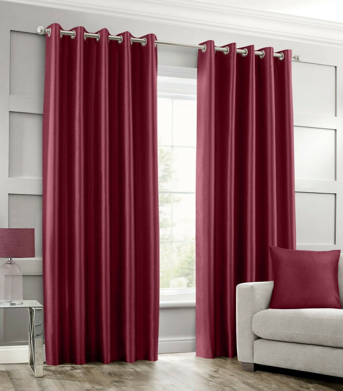 Stylish Ring Top Eyelet Lined Curtains Plain Faux Silk Burgundy Colour