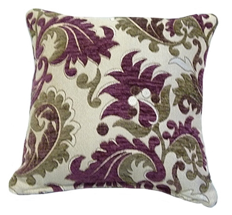 STYLISH TRENDY CHENILLE FLORAL LEAF DESIGN FILLED CUSHION AUBERGINE PURPLE COLOUR
