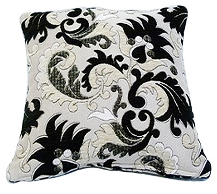 STYLISH TRENDY CHENILLE FLORAL LEAF DESIGN FILLED CUSHION BLACK COLOUR