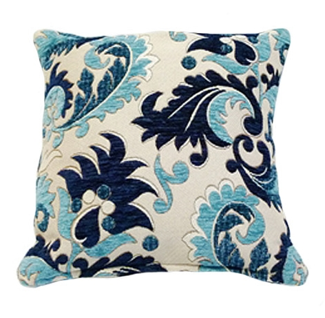 STYLISH TRENDY CHENILLE FLORAL LEAF DESIGN FILLED CUSHION BLUE COLOUR
