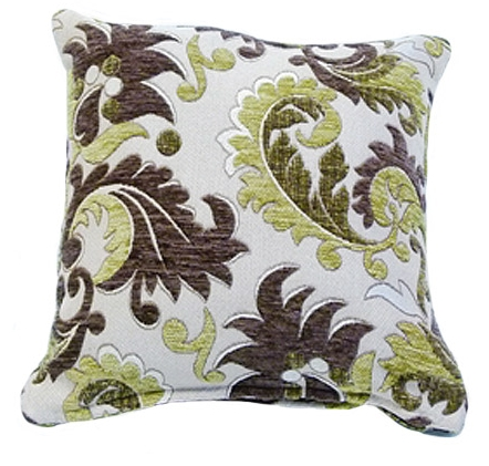 STYLISH TRENDY CHENILLE FLORAL LEAF DESIGN FILLED CUSHION MOSS GREEN COLOUR