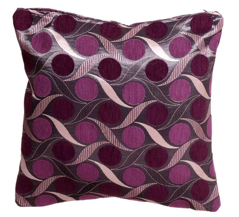STYLISH TRENDY CIRCLES LEAF DESIGN FILLED CUSHION AUBERGINE PURPLE COLOUR