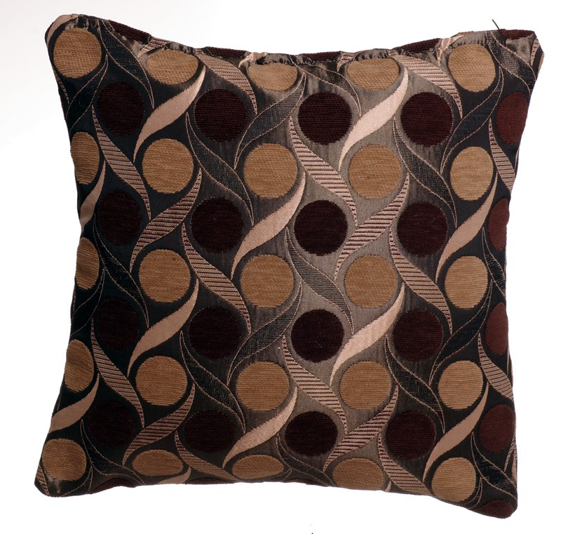 STYLISH TRENDY CIRCLES LEAF DESIGN FILLED CUSHION CHOCOLATE BROWN COLOUR