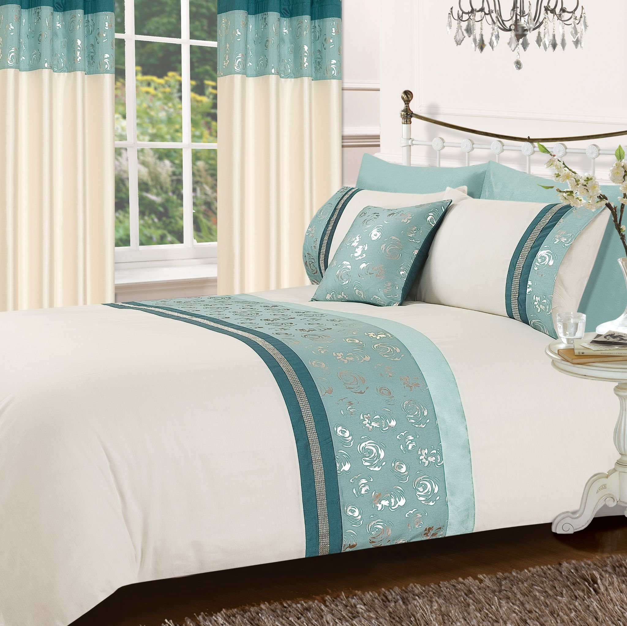 teal cream colour stylish matallic floral diamante duvet cover luxury beautiful glamour bedding. Black Bedroom Furniture Sets. Home Design Ideas