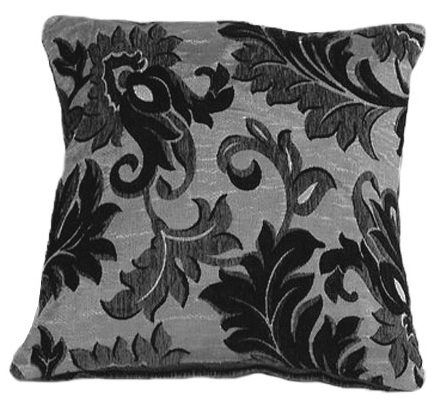 TRENDY STYLISH CHENILLE FLORAL EMBELLISHED DESIGN FILLED CUSHION BLACK COLOUR
