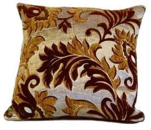 TRENDY STYLISH CHENILLE FLORAL EMBELLISHED DESIGN FILLED CUSHION BROWN COLOUR
