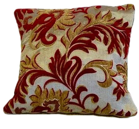 TRENDY STYLISH CHENILLE FLORAL EMBELLISHED DESIGN FILLED CUSHION BURGUNDY WINE COLOUR