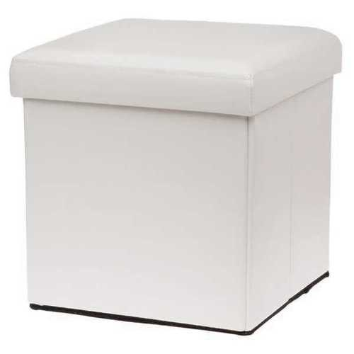 sc 1 st  Fabulous Home Furnishings & WHITE COLOUR LEATHER FOLD FLAT OTTOMAN STORAGE BOX