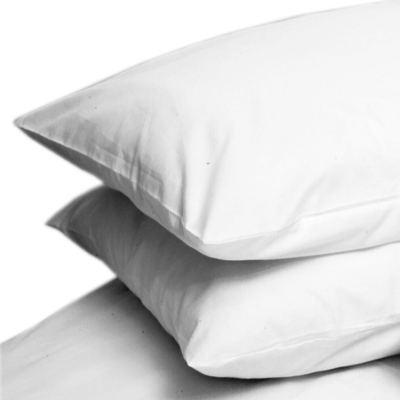 WHITE COLOUR PERCALE HOUSEWIFE PAIR OF PILLOWCASES