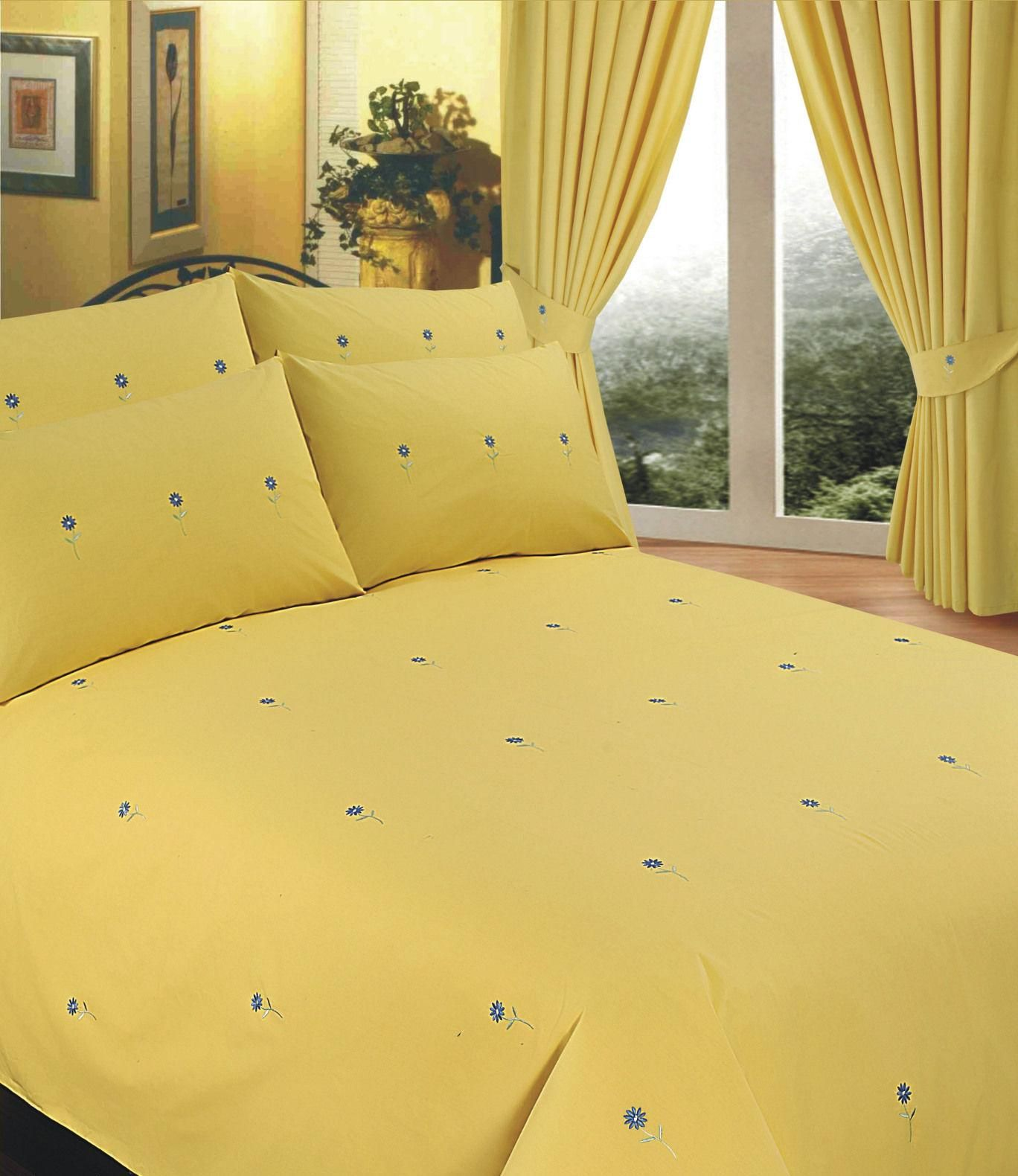 Yellow Colour Stylish Embroidered Floral Duvet Cover